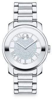Movado Bold Luxe Crystal& Stainless Steel Bracelet Watch