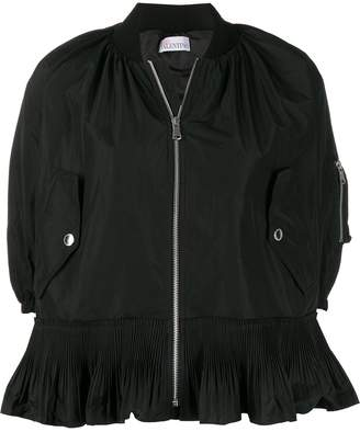 RED Valentino cropped pleated zipped jacket