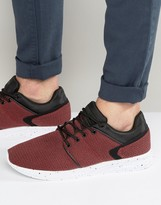 Pull&Bear Knitted Sneakers In Red And Black