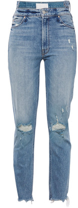 Mother The Tripper Distressed High-rise Slim-leg Jeans
