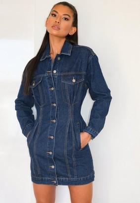 Missguided Blue Cinched Waist Denim Jacket Dress