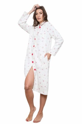Cotton Real Ladies 100% Cotton Pink Ditsy Floral Quilted Button Up Robe Dressing Gown from Cottonreal (L)