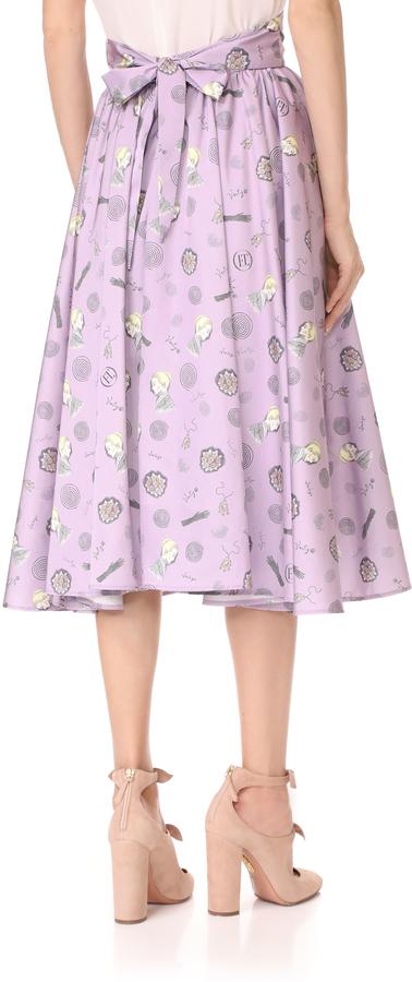 Olympia Le-Tan Frances Vertigo Print Skirt