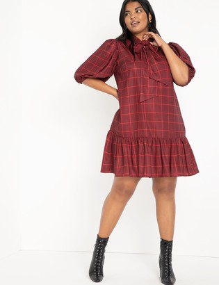 ELOQUII Plaid Tie Neck Easy Dress