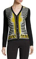 Versace Printed Striped Silk & Wool Cardigan