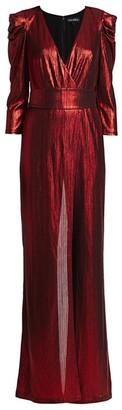 retrofete Monroe Metallic Puff-Sleeve Jumpsuit