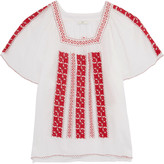 Joie Embroidered cotton-voile top
