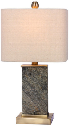 """Fangio Lighting Stone & Metal Table Lamp, Natural Stone/Antique Brass, 19"""""""