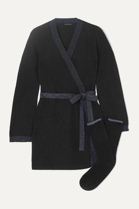 Morgan Lane - Bella Lurex-trimmed Cashmere Robe And Socks Set - Black