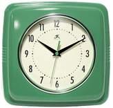 "Infinity Instruments Square Retro Decorative Clock 9"" - Green"