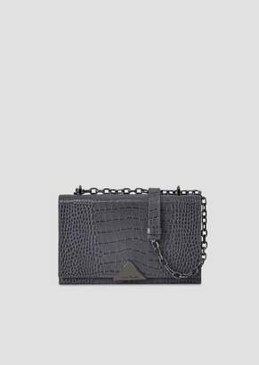 Emporio Armani Shoulder Bag In Crocodile-Print Leather With Triangular Clasp
