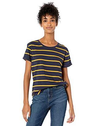 Goodthreads Washed Jersey Cotton Roll-Sleeve Open Crewneck T-Shirt Stripe, XS