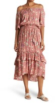 Thumbnail for your product : Love Stitch Floral Off-the-Shoulder Ruffled High/Low Maxi Dress