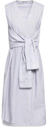 Alexander Wang Tie-front Striped Cotton-poplin Dress