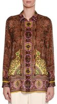 Etro Paisley Long-Sleeve Silk Blouse, Brown