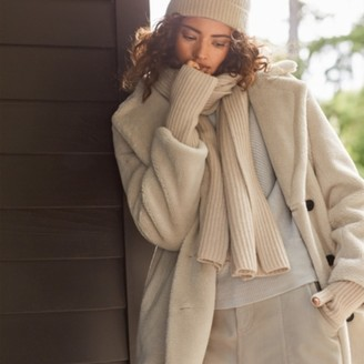 The White Company Double-Breasted Teddy Coat, Ivory, Large