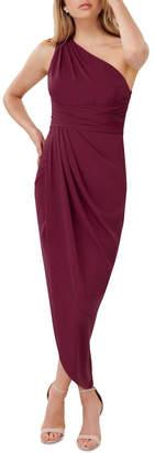 Forever New Petite Mandy Petite One Shoulder Drape Maxi Dress