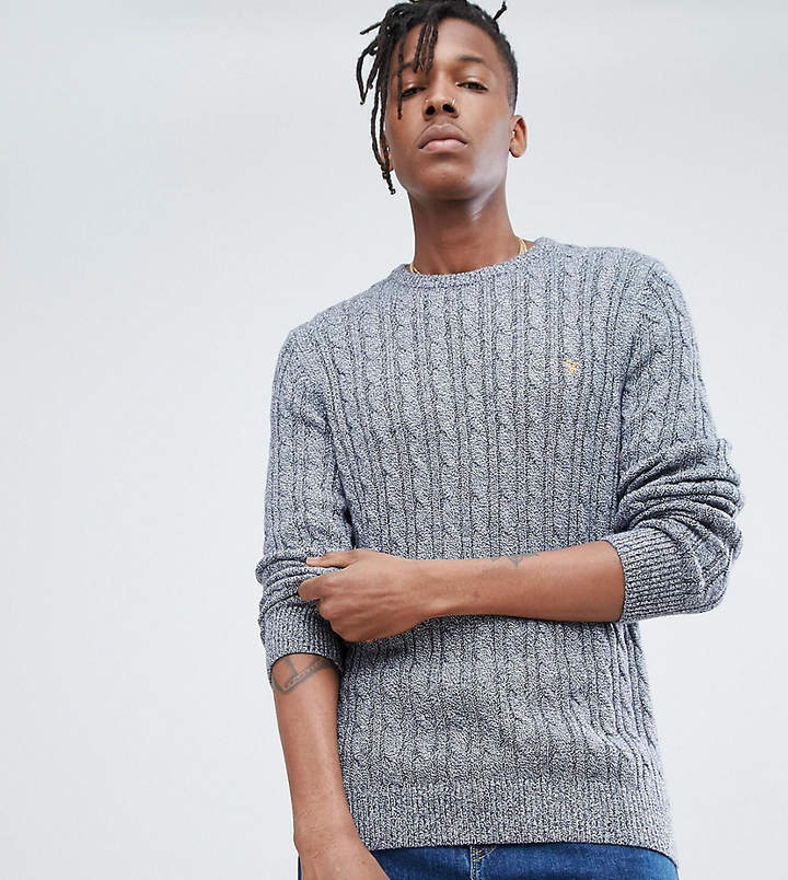 5de11538af3 Ludwig Twisted Yarn Cable Knit Jumper in Navy Fleck