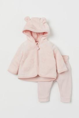 H&M 2-piece Fleece Set - Pink
