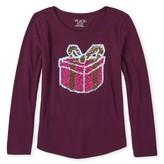 The Children's Place Girls 4-16 Flip Sequin Present Graphic Long Sleeve Curve Hem T-Shirt