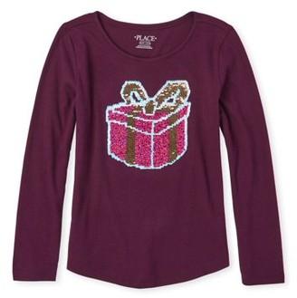 Children's Place The Girls 4-16 Flip Sequin Present Graphic Long Sleeve Curve Hem T-Shirt