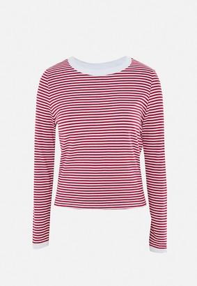 Missguided Brown Stripe Crew Neck T Shirt