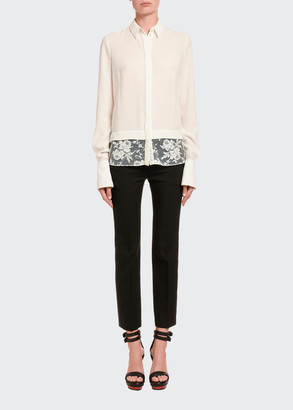 Alexander McQueen Silk Lace-Hem Button-Front Blouse