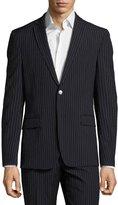 Versace Pinstripe Two-Piece Wool Suit, Navy