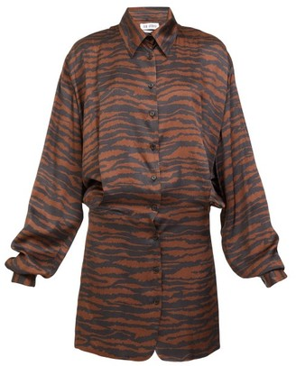 ATTICO Gigi Zebra-print Satin Mini Shirt Dress - Brown