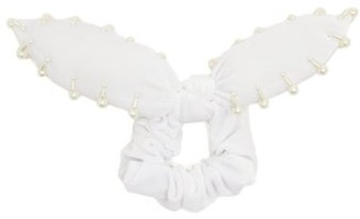 House Of Lafayette - Bambou Faux-pearl Embellished Velvet Scrunchie - White
