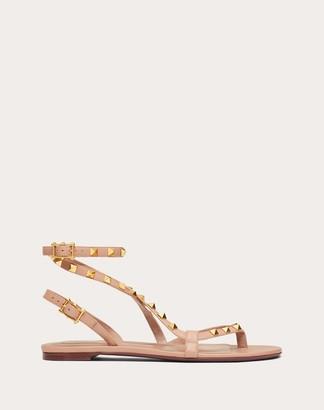 Valentino Rockstud Flair Nappa Leather Flat Flip-flop Sandal Women Black 100% Lambskin 38