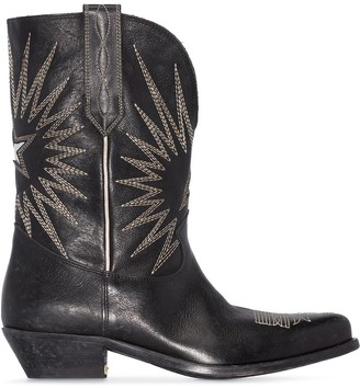 Golden Goose Wish Star 40mm embroidered leather cowboy boots