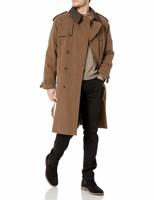 London Fog Men's Double Breasted Belted Iconic Trench Coat with Zip Out Liner