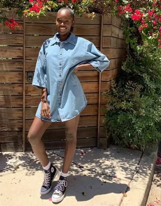 ASOS DESIGN denim oversize short sleeve shirt in midwash blue