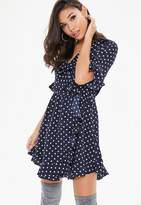 Missguided Navy Polka Dot Wrap Dress, Blue