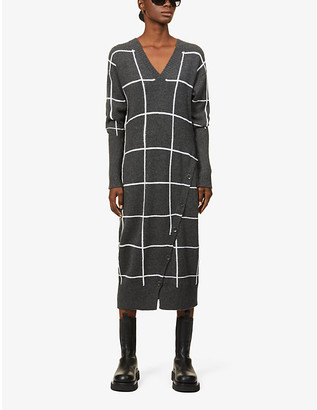 Eleventy Checked cashmere maxi dress