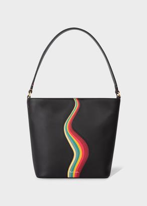 Paul Smith Women's Black Leather Small Bucket Bag with 'Swirl' Print