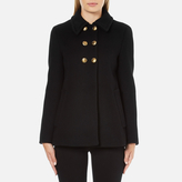 Moschino Women's Pea Coat with Gold Buttons Black