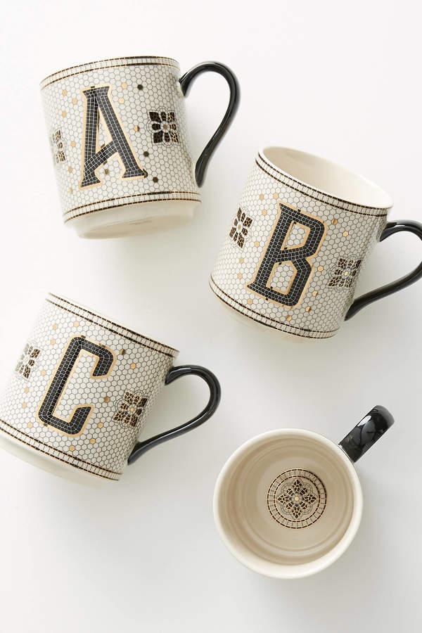 Tiled Margot Monogram Mug By Anthropologie in Alphabet Size O