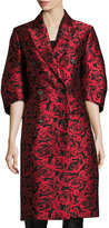 Michael Kors Rose Jacquard Ruched-Sleeve Double-Breasted Coat, Red/Black