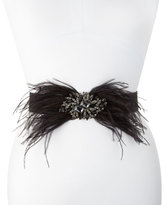 Deborah Drattell Lucia Stretch Belt w/Jeweled Feather Pin