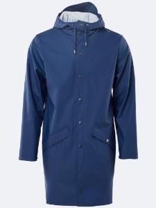 Rains Long Jacket In Klein Blue - XXS/XS