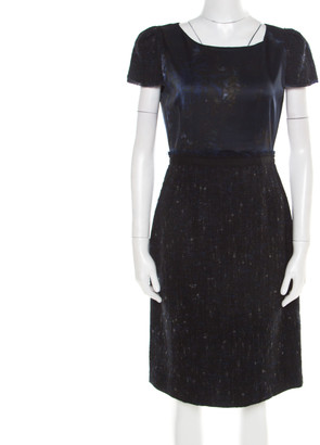 Elie Tahari Navy Blue Printed Satin and Tweed Cap Sleeve Lolly Sheath Dress S