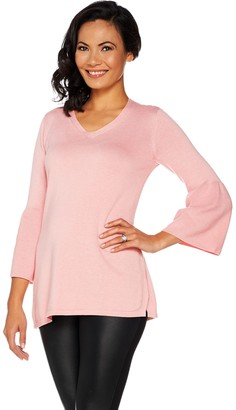 Halston H by V-neck Bell Sleeve Sweater Tunic