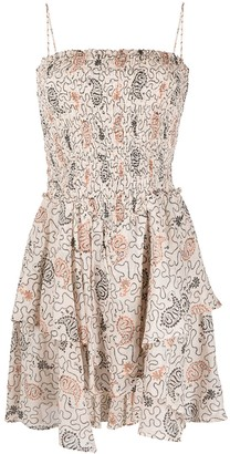Etoile Isabel Marant Asymmetric Paisley-Print Smocked Short Dress
