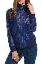 Zeagoo Women's Motorcycle Biker Faux Leather Jacket Zip Up Bomber Jacket Coat