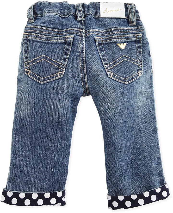Armani Junior Denim Jeans with Polk-Dot Cuffs, 3-24 Months