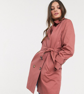 ASOS DESIGN Petite trench coat in dusty rose