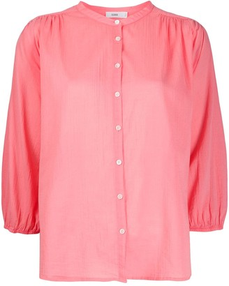Closed Collarless 3/4 Sleeves Blouse