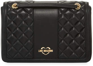 Love Moschino Borsa Quilted Faux-Leather Shoulder Bag